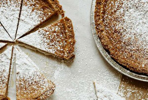 Based on old-school chess pie, a re-invented butter and brown sugar caramel rests gently on an oatmeal cookie crust (gluten-free)